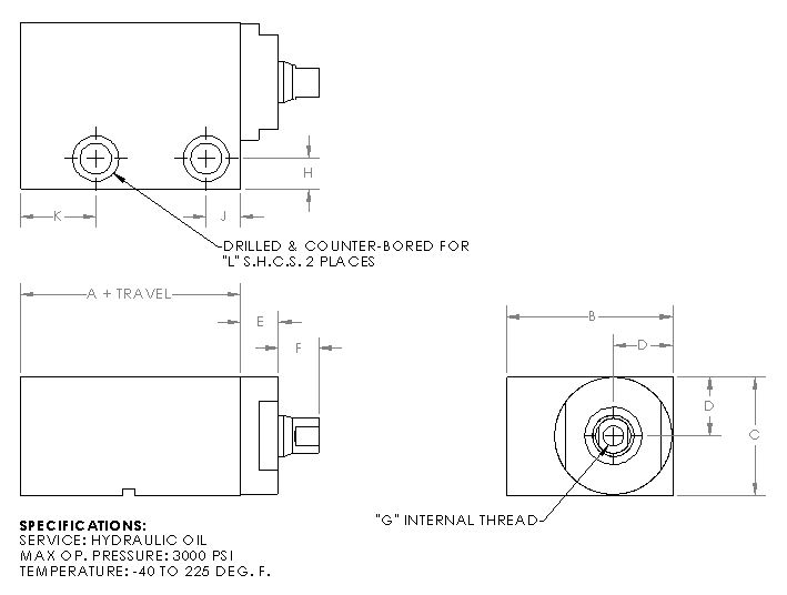 Double Acting Trepan Fluid Inlet Rectangular - Series 3000 Hydraulic Cylinder
