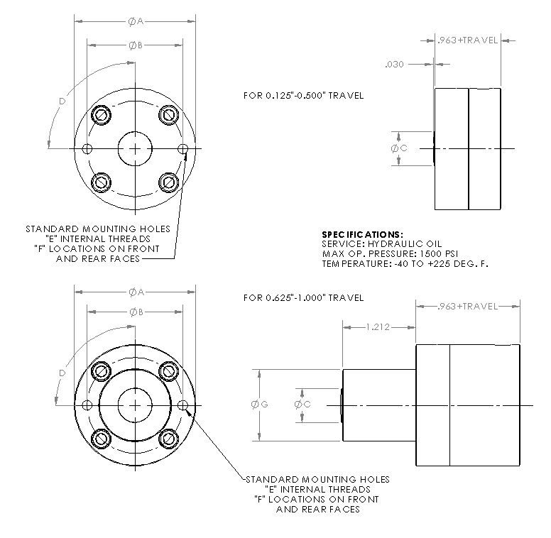 Single Acting Spring Return Hydraulic Cylinder - Series 125