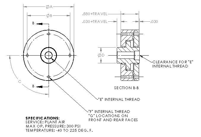 Miniature Thru-Thread Pneumatic Cylinder - 300psi Max