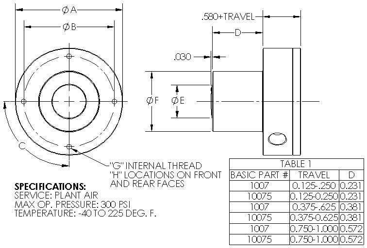 Miniature Single Acting Spring Return Pneumatic Cylinder - 300psi Max