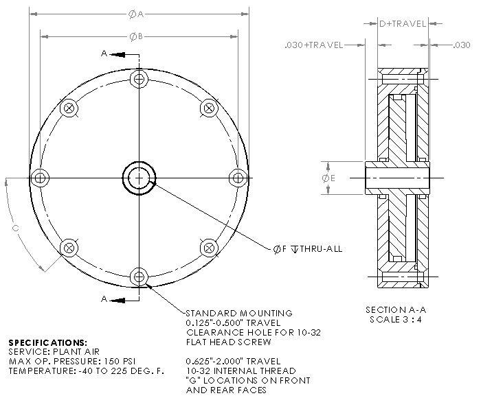 Standard Thru Hole Pneumatic Cylinder