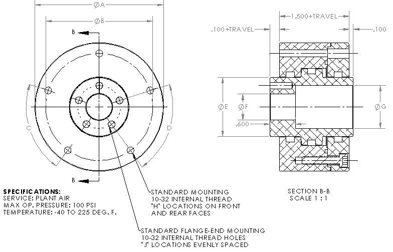 Flange End Hollow Hub Pneumatic Cylinder SERIES B-SP-EM
