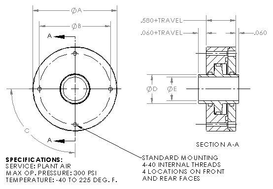 Miniature Large Hub Thru-Hole Pneumatic Cylinder - 300psi Max