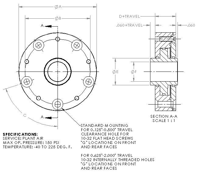 Standard Large Hub Pneumatic Cylinder